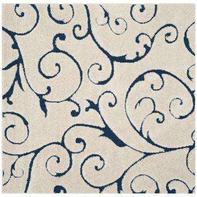 Florida Shag Cream/Blue 6 ft. 7 in. x 6 ft. 7 in. Square Area Rug
