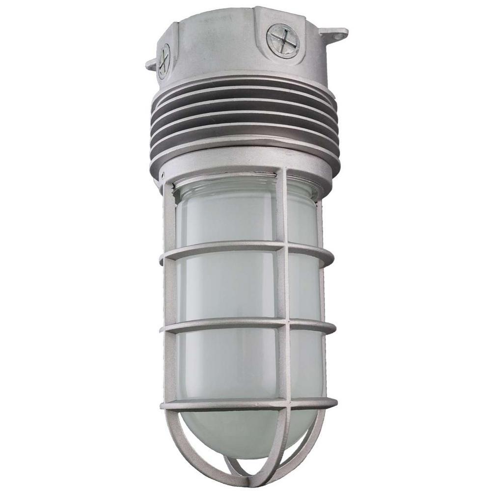 12-Watt Integrated LED Gray Outdoor Ceiling or Surface Mount Vapor Proof Jar Fixture Weather Tight Area Light, 5000K