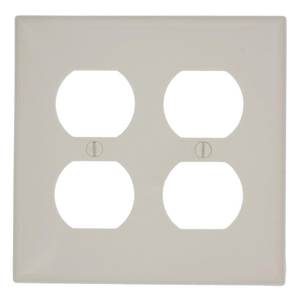 2-Gang Standard Size 2-Duplex Receptacles Nylon Wall Plate, Light Almond