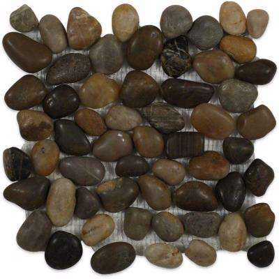 Flat 3D Pebble Rock Multicolor Stacked 12 in. x 12 in. x 8 mm Stone Mosaic Floor and Wall Tile