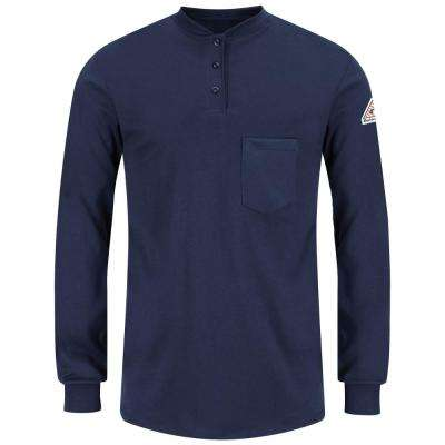 EXCEL FR Men's Large Navy Long Sleeve Tagless Henley Shirt