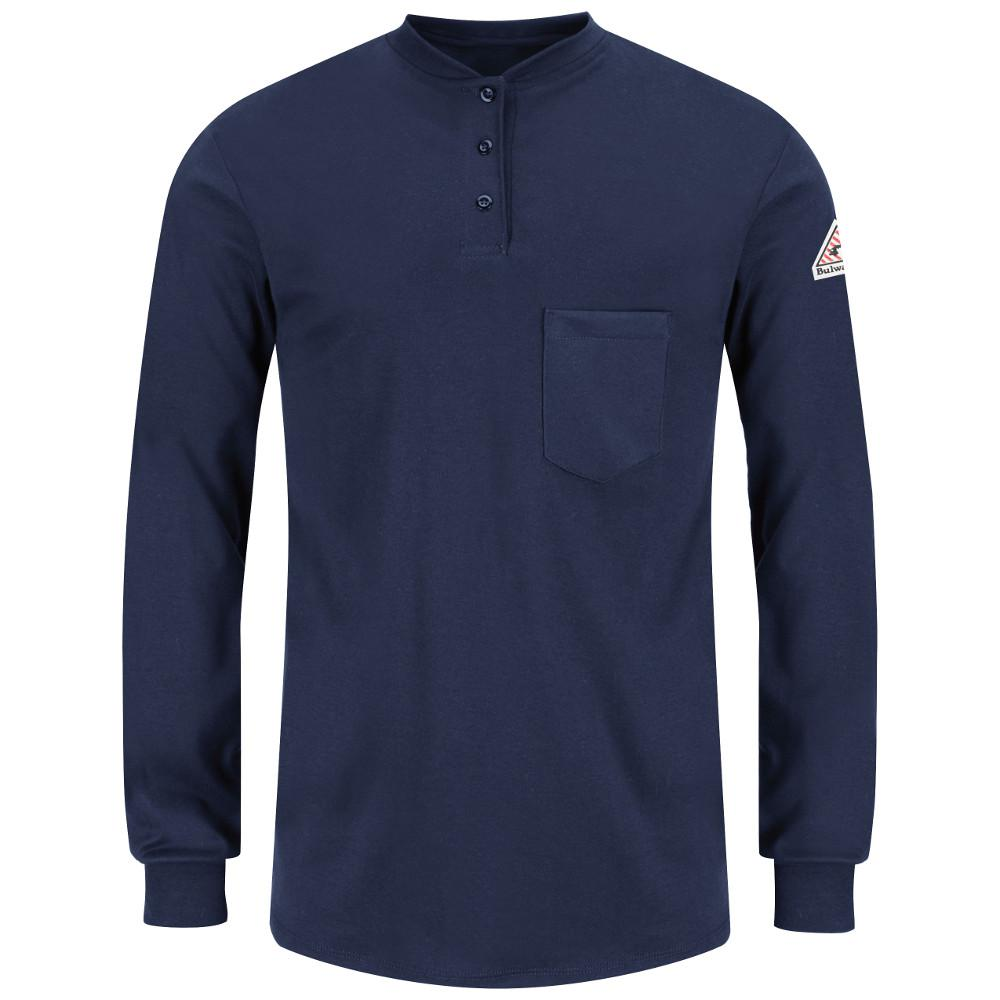 c2bae1eb Bulwark EXCEL FR Men's Large Navy Long Sleeve Tagless Henley Shirt ...