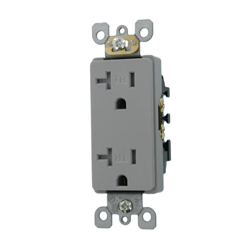 Leviton Decora 20 Amp Residential Grade Tamper Resistant Self Grounding Duplex Outlet  Gray
