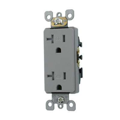 Decora 20 Amp Residential Grade Tamper Resistant Self Grounding Duplex Outlet, Gray