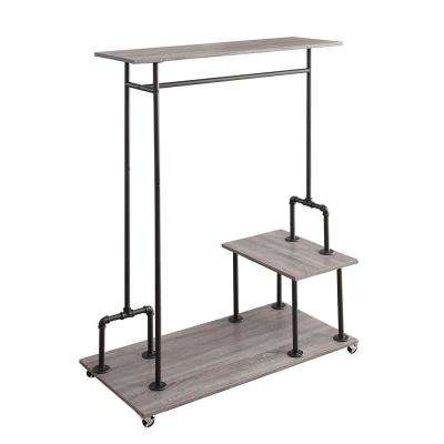 Manchester Industrial 47.25 in. x 65 in. Gray and Black Wood and Metal Closet Wardrobe Garment Rack