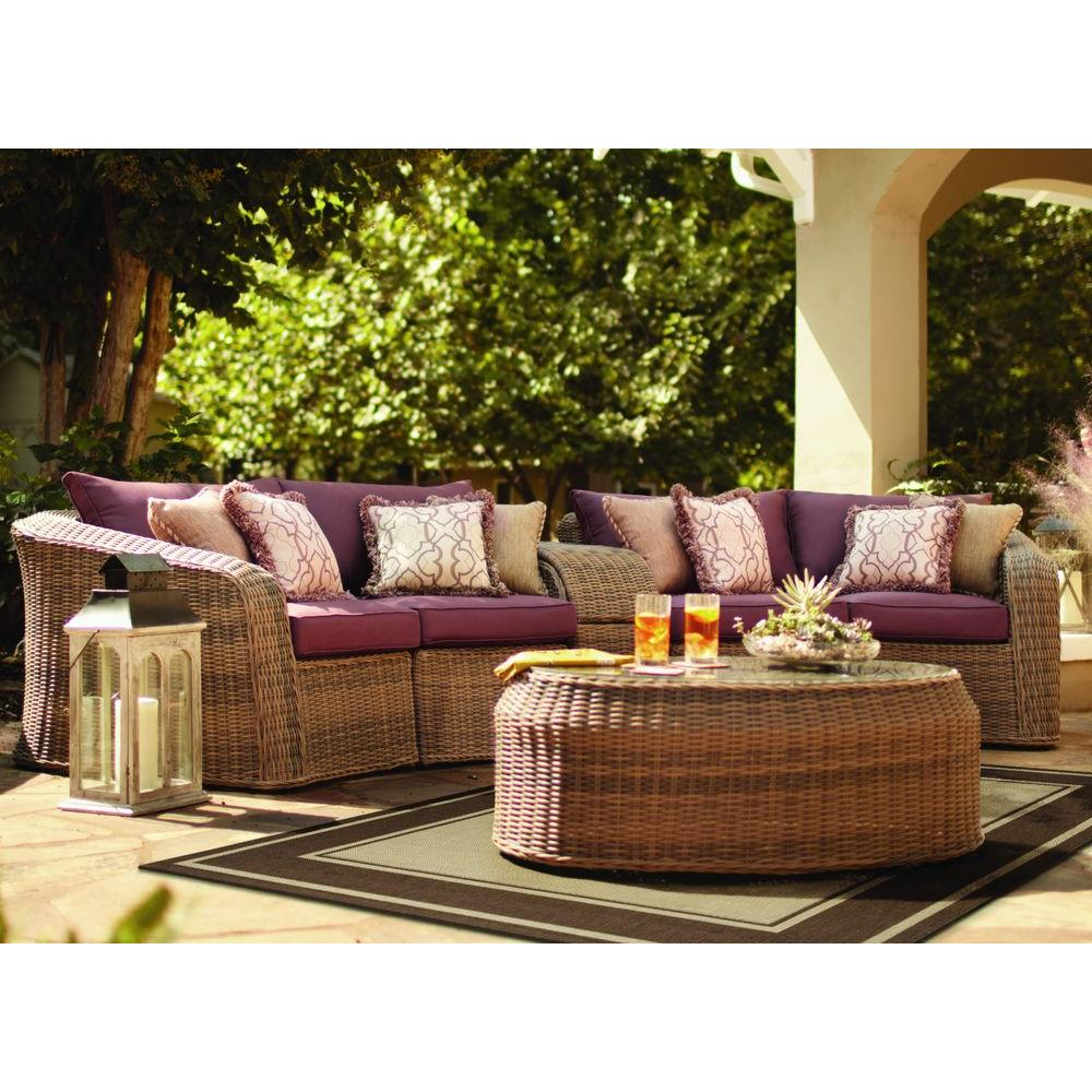 Thomasville Round Hill 6-Piece Patio Sectional Seating Set with Plum Cushions-DISCONTINUED