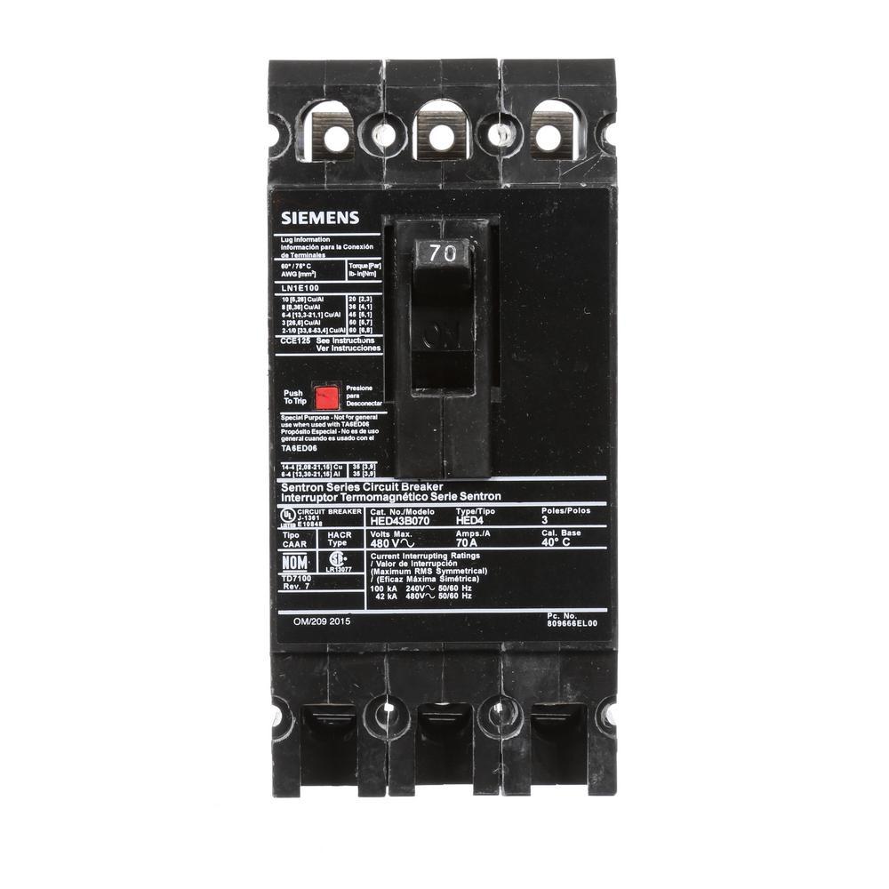 70 Amp 3-Pole Type ED 42 kA Circuit Breaker