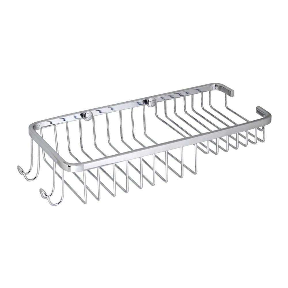 Large 11 in. Stainless Steel  Wall Mounted Soap and Bottle Basket in Polished Chrome