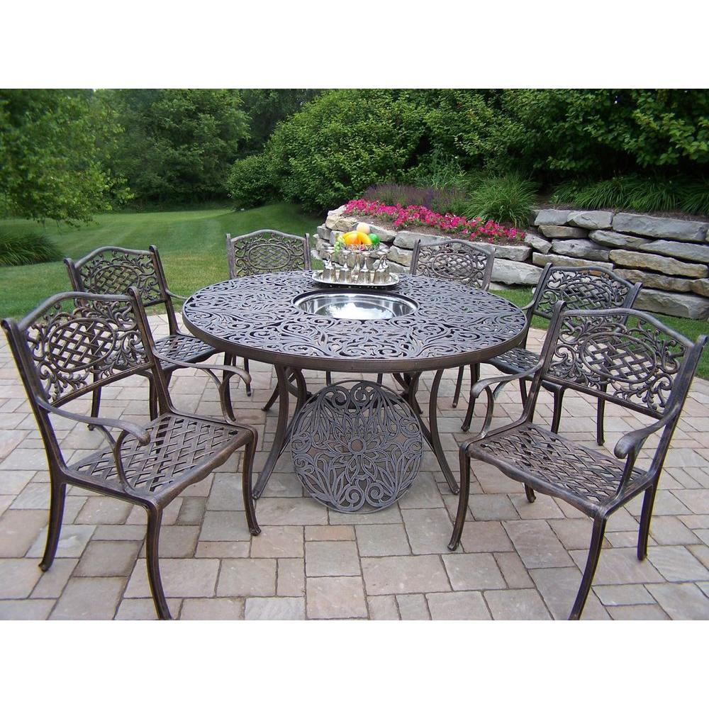 Oakland Living Mississippi 7-Piece Patio Dining Set with Ice Bucket