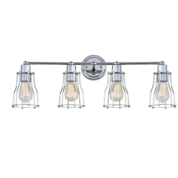 Evelyn 29.5 in. 4-Light Metal Chrome Vanity Light
