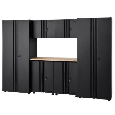 Welded 109 in. W x 75 in. H x 19 in. D Steel Garage Cabinet Set in Black (7-Piece with Solid Wood Work Surface)
