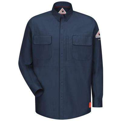 IQ Men's Large Dark Blue Long Sleeve Patch Pocketed Shirt