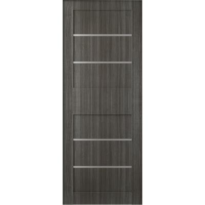 30 in. x 80 in. Liah Gray Oak Finished Frosted Glass 4-Lite Solid Core Wood Composite Interior Door Slab No Bore