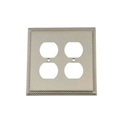 Rope Switch Plate with Double Outlet in Satin Nickel