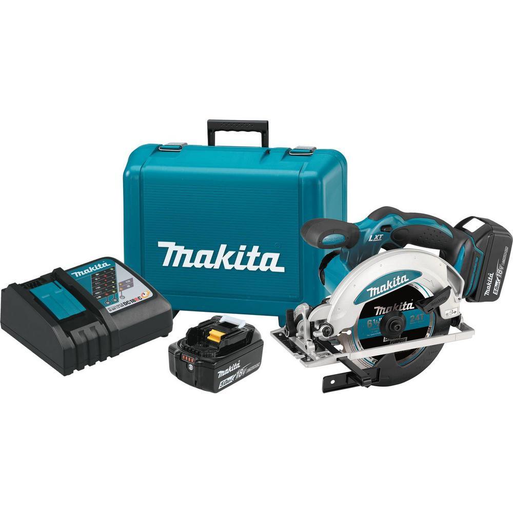 Makita 18-Volt 5.0 Ah LXT Lithium-Ion Cordless 6-1/2 inch Circular Saw Kit by Makita