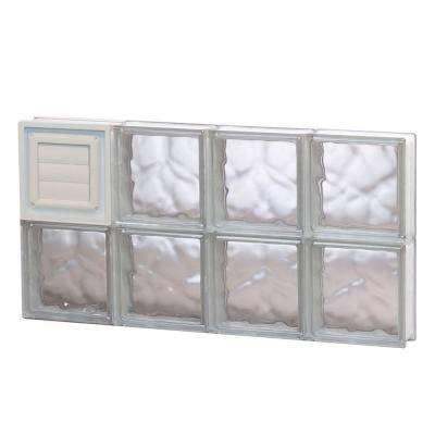 31 in. x 15.5 in. x 3.125 in. Frameless Wave Pattern Glass Block Window with Dryer Vent