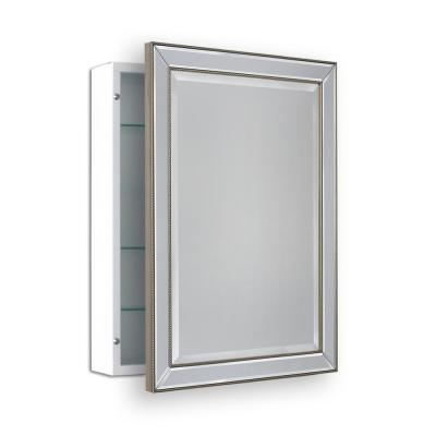 22 in. W x 30 in. H Surface Mount Metro Beaded Medicine Cabinet in Silver/Champagne