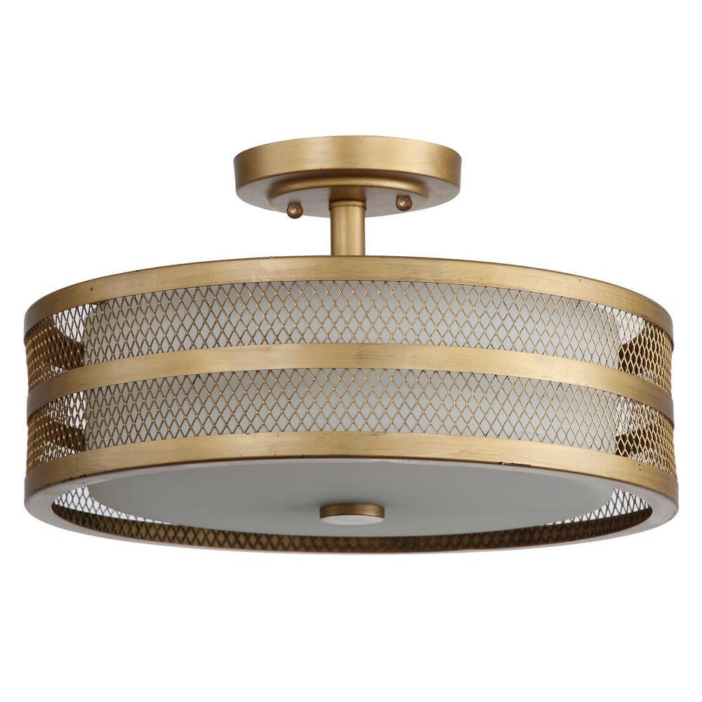 Great Veil 3-Light Antique Gold Semi-Flush Mount Light