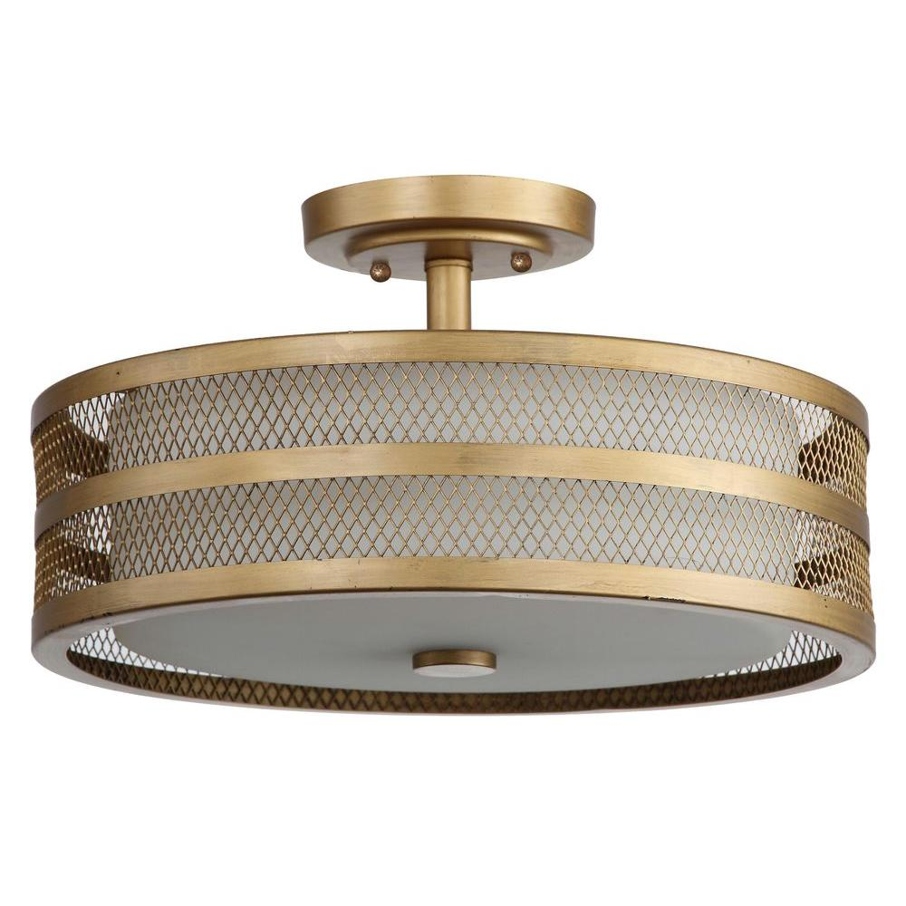 Safavieh Great Veil 3-Light Antique Gold Semi-Flush Mount Light