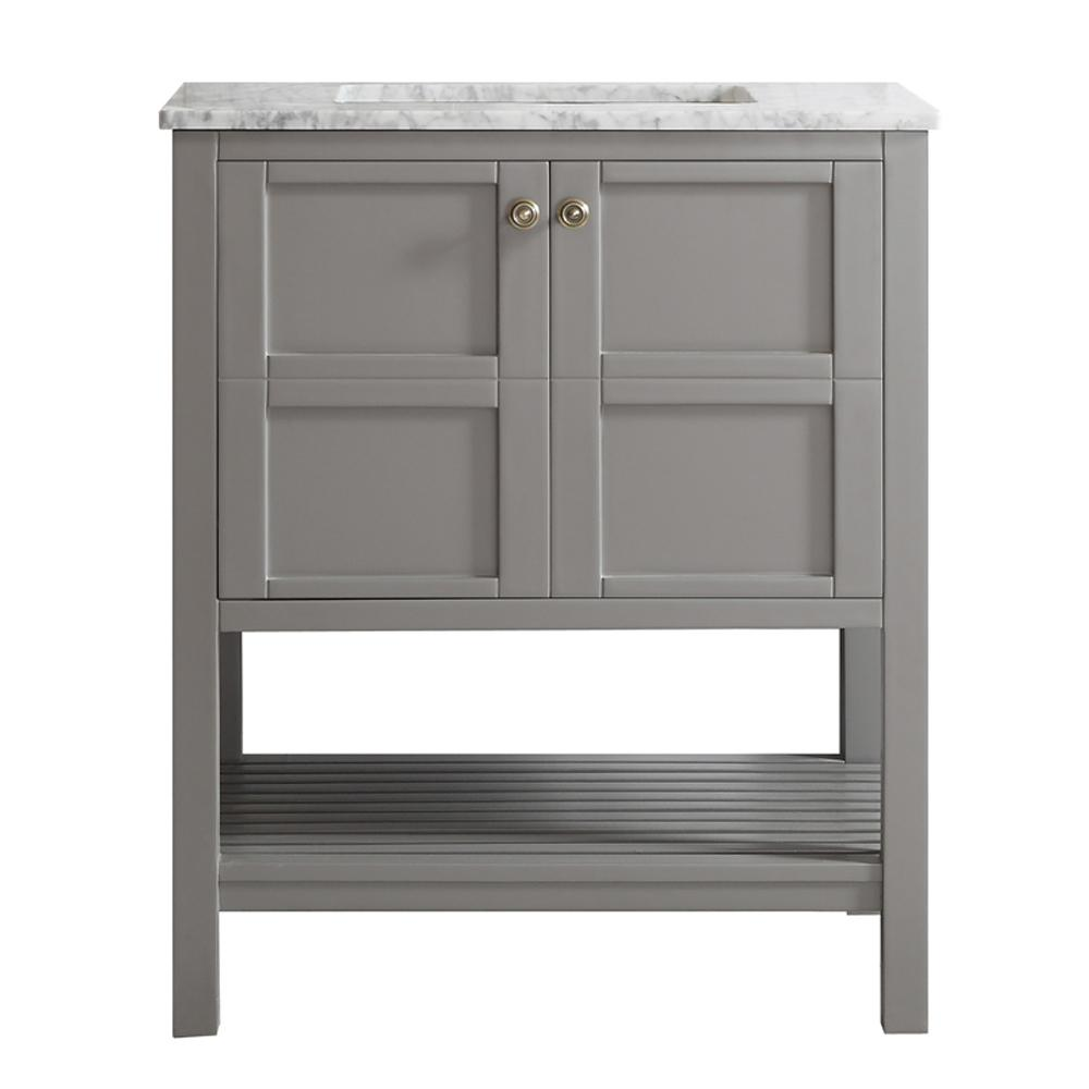 ROSWELL Florence 30 in. W x 22 in. D x 35 in. H Vanity in Grey with Marble Vanity Top in White with Basin