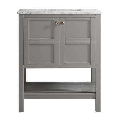 Florence 30 in. W x 22 in. D x 35 in. H Vanity in Grey with Marble Vanity Top in White with Basin