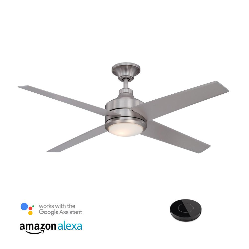 Home Decorators Collection Mercer 52 In Indoor Brushed Nickel Ceiling Fan With Light Kit Works