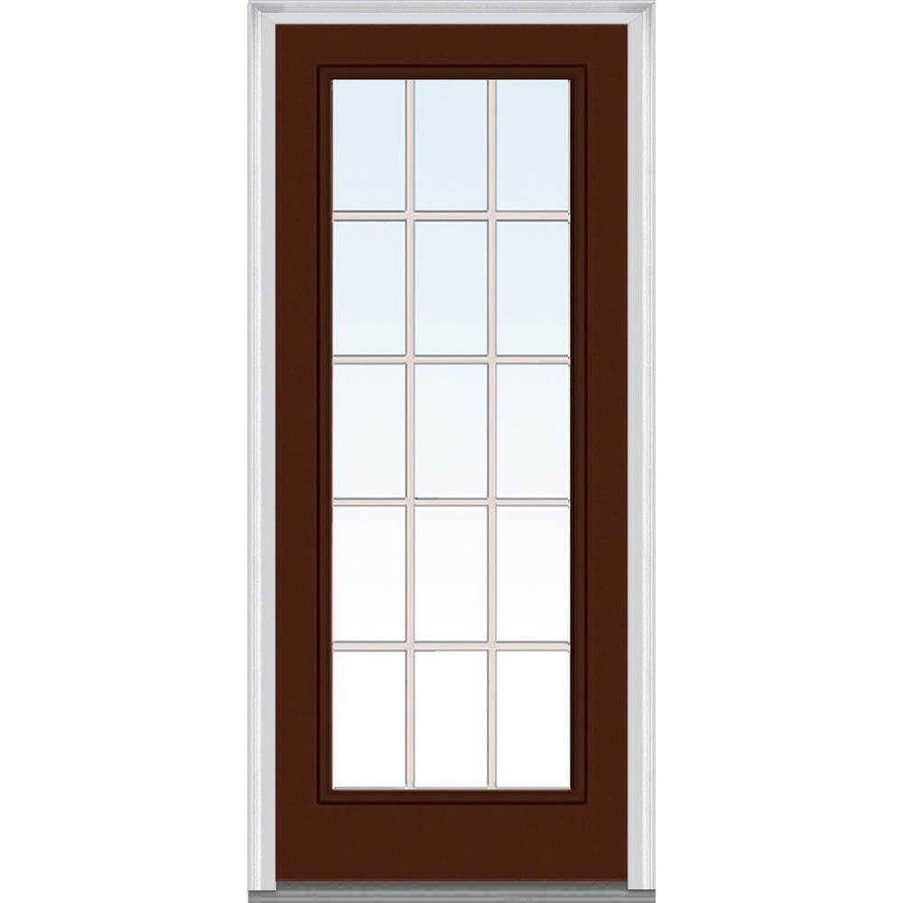 36 in. x 80 in. Grilles Between Glass Left-Hand Inswing Full Lite Clear Painted Steel Prehung Front Door