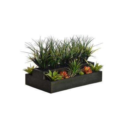 26 in. x 13 in. x 14 in. Tall Plastic Grass in Wooden Pot