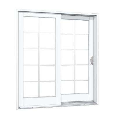72 in. x 80 in. Woodgrain Interior and Smooth White Exterior Right-Hand Composite Sliding Patio Door with 10-Lite GBG