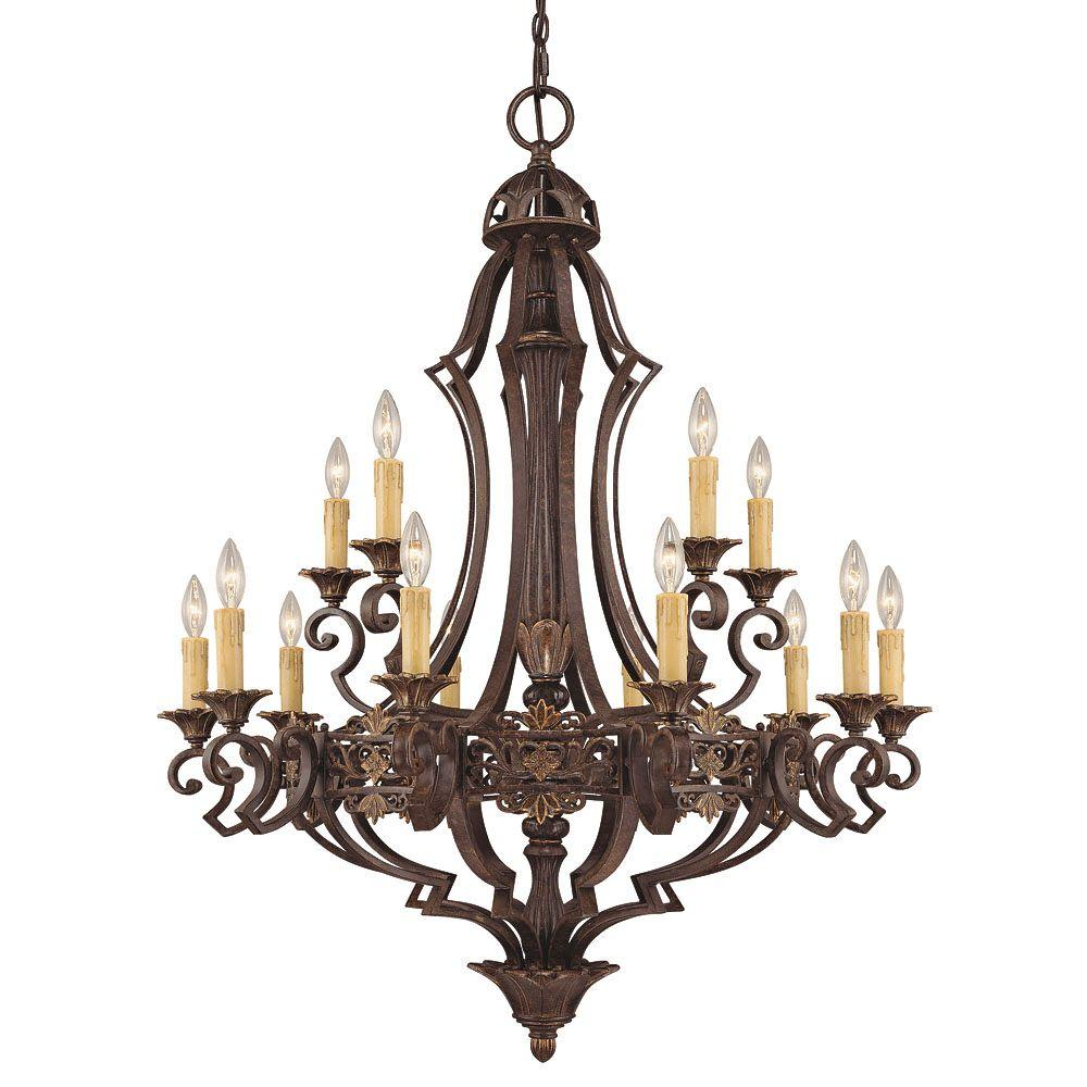 Illumine 15-Light Florencian Bronze Chandelier with Cream Beeswax Candle Cover