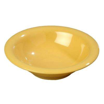 12 oz., 7.25 in. Diameter Wide Rim Melamine Rimmed Bowl in Honey Yellow (Case of 24)
