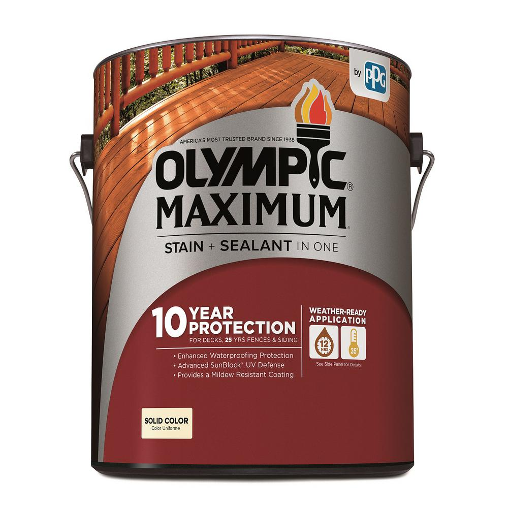 Exterior White Stain For Wood: Olympic Maximum 1 Gal. Navajo White Solid Color Exterior