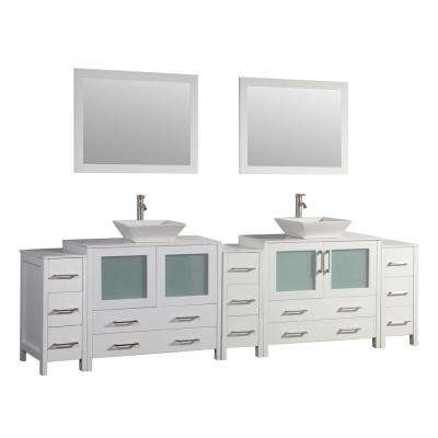 Ravenna 108 in. W x 18.5 in. D x 36 in. H Bathroom Vanity in White with Double Basin Top in White Ceramic and Mirrors