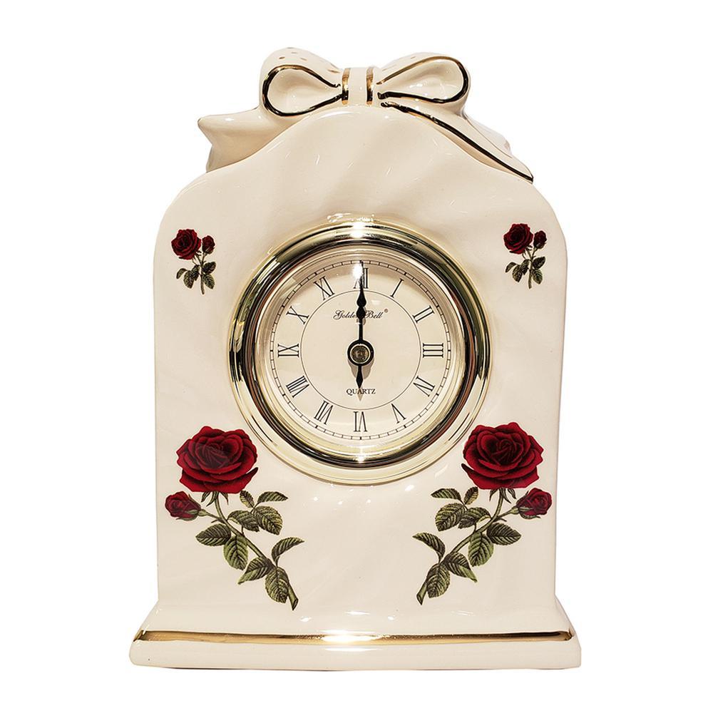 GB Ceramic Style Floral Desk Clock