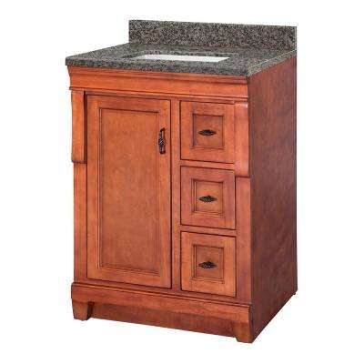 Naples 25 in. W x 22 in. D Vanity in Warm Cinnamon with Granite Vanity Top in Sircolo with White Sink