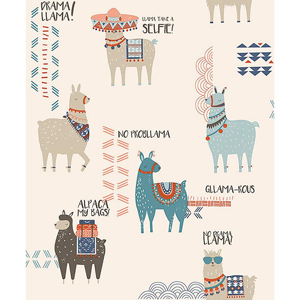 56.4 sq. ft. Quito Multicolor Llamas Wallpaper