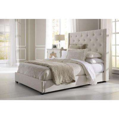 All-in-1 Cream King Upholstered Bed