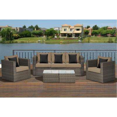 Parton 5-Piece Wicker Patio Seating Set with Brown Cushions