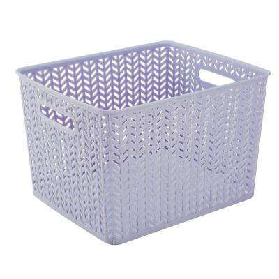 Lilac Herringbone Large Storage Tote