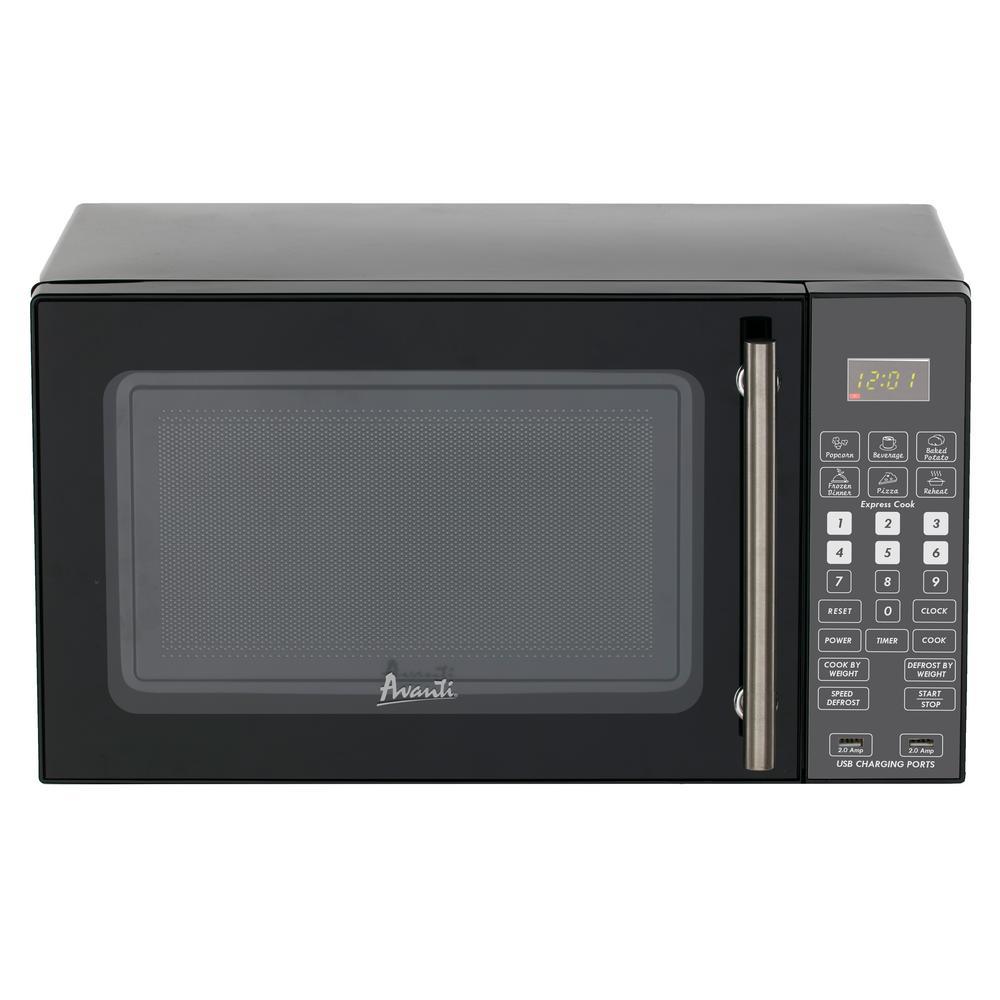 0.8 cu. ft. Countertop Microwave in Black with Stainless Steel Handel