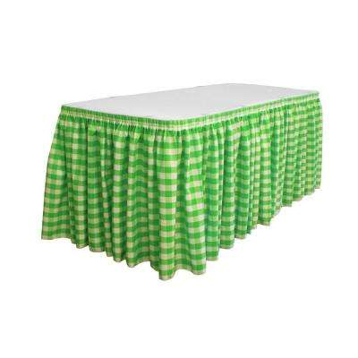 14 ft. x 29 in. Long White and Lime Polyester Gingham Checkered Table Skirt with 10 L-Clips