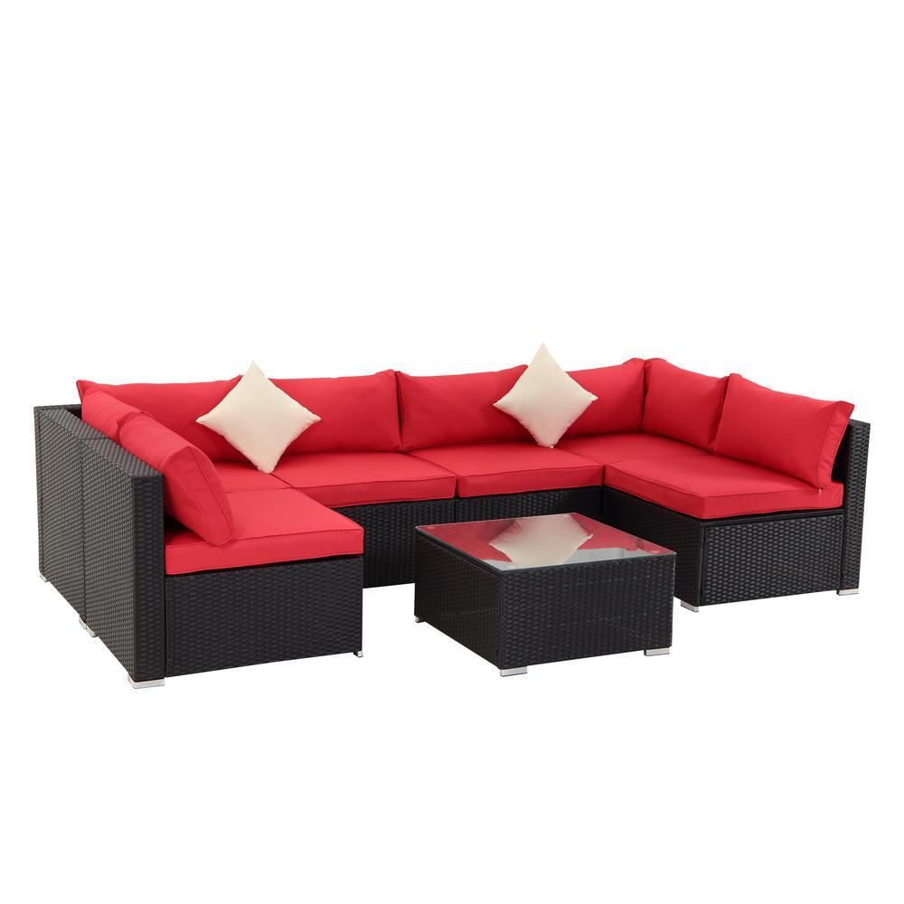 Dark Brown 7-Piece PE Wicker Outdoor Patio Conversation Sofa with Red Foam Cushions