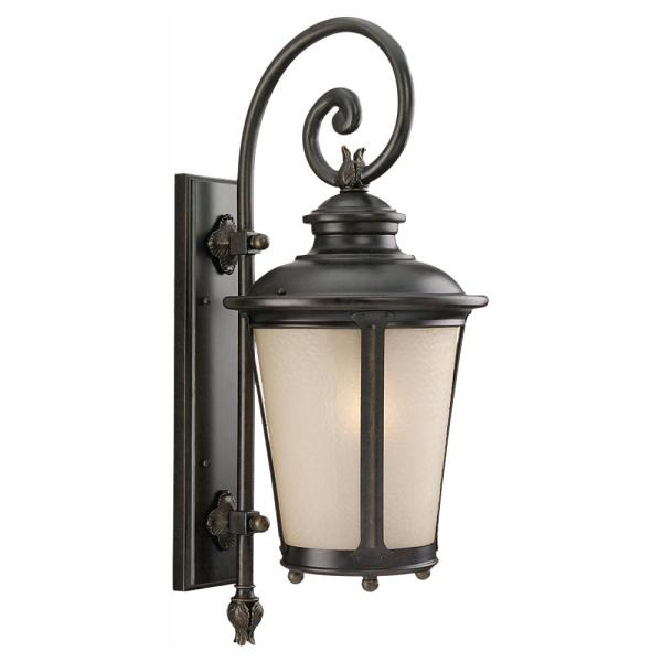 Cape May 1-Light Burled Iron LED Outdoor 26.25 in. Wall Lantern Sconce
