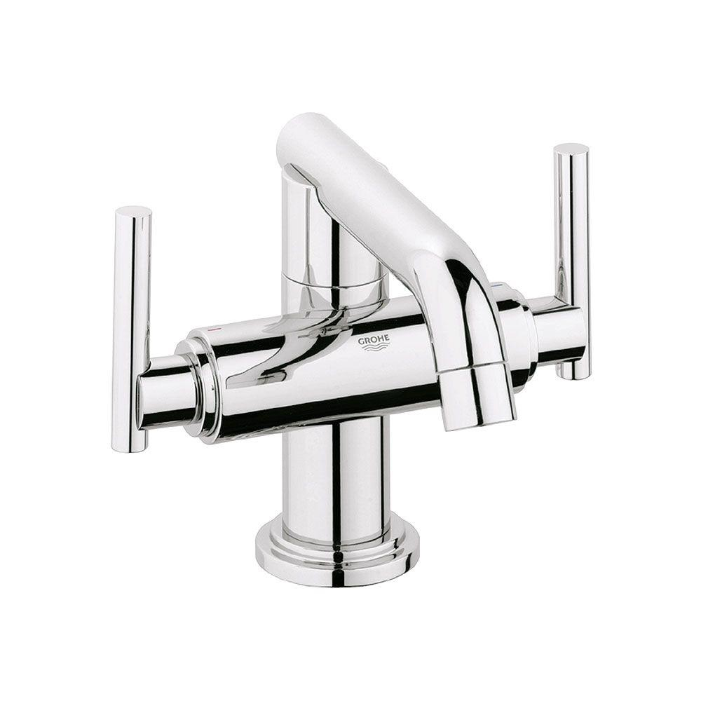 Atrio Single Hole 2 Handle Low Arc Bathroom Faucet In StarLight Chrome Less