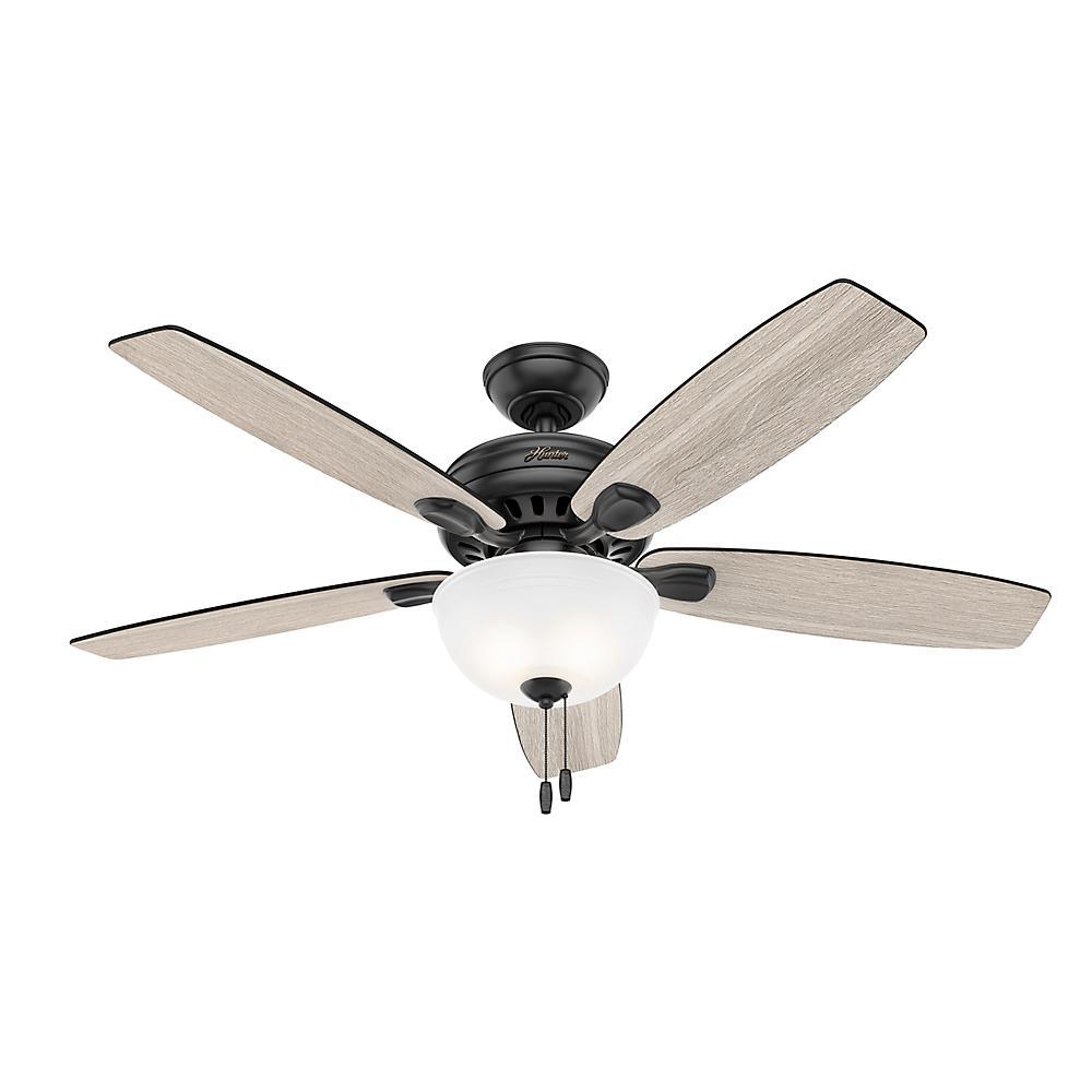 Stratford 52 in. LED Indoor Matte Black Ceiling Fan with Light Kit