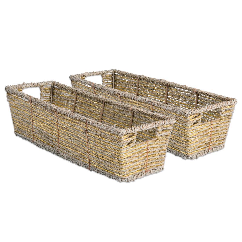 Trapezoidal Woven Seagrass Decorative Bin (Set of 2)