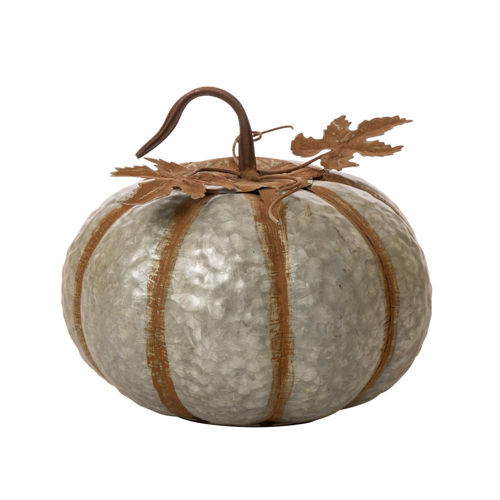 12 in. H Galvanized Metal Round Pumpkin