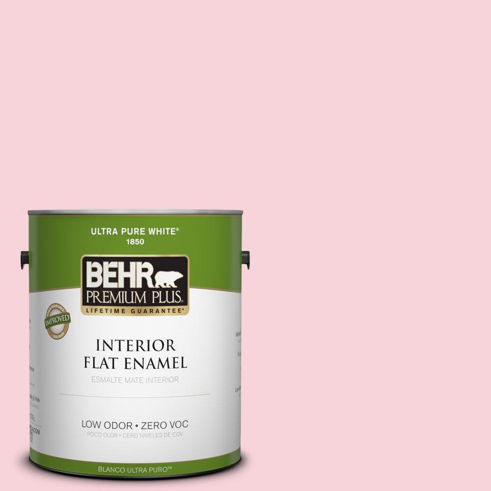 BEHR Premium Plus 1-gal. #110C-1 Petal Bloom Zero VOC Flat Enamel Interior Paint-DISCONTINUED