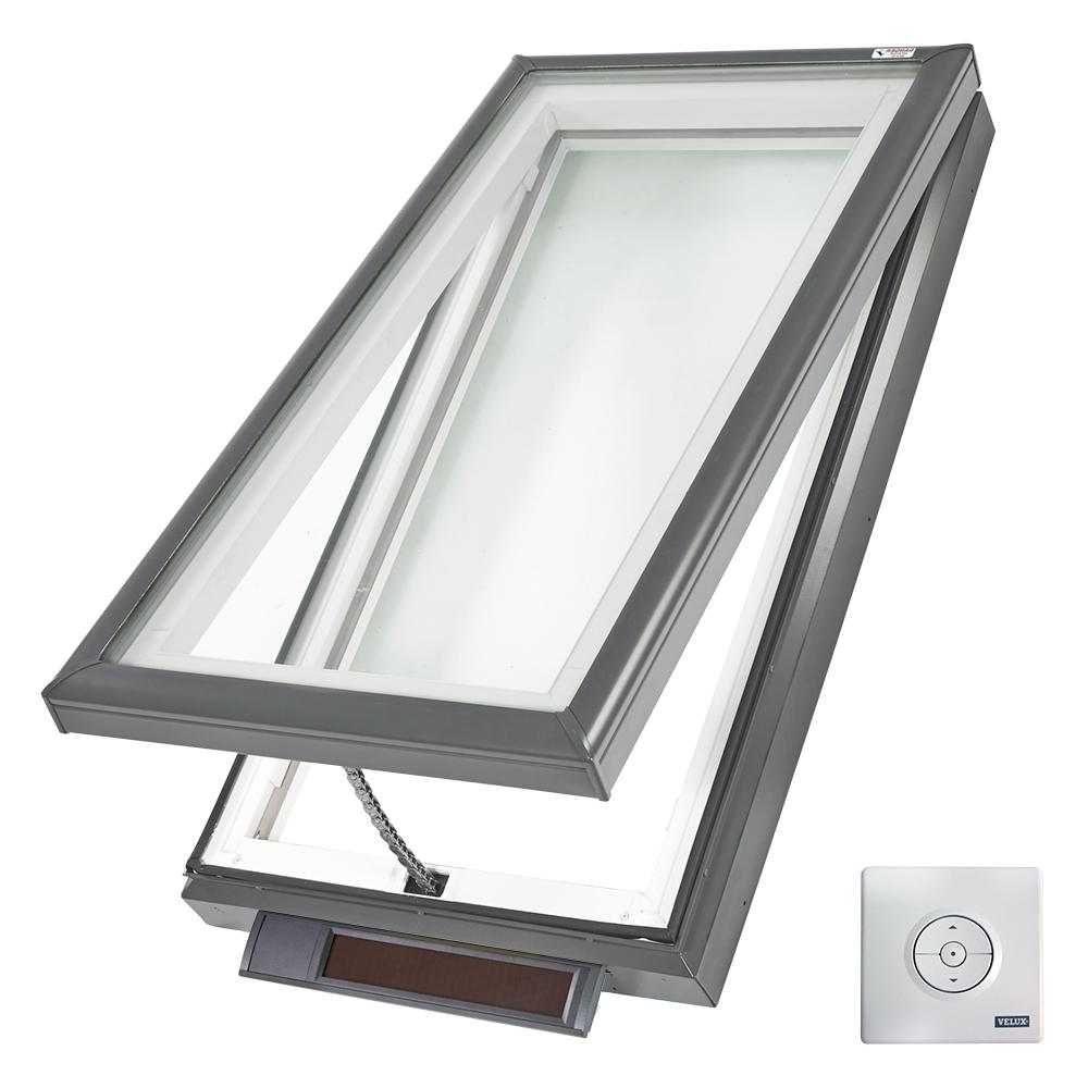 VELUX 22-1/2 in. x 46-1/2 in. Solar Powered Fresh Air Venting Curb-Mount Skylight with White Laminated Low-E3 Glass
