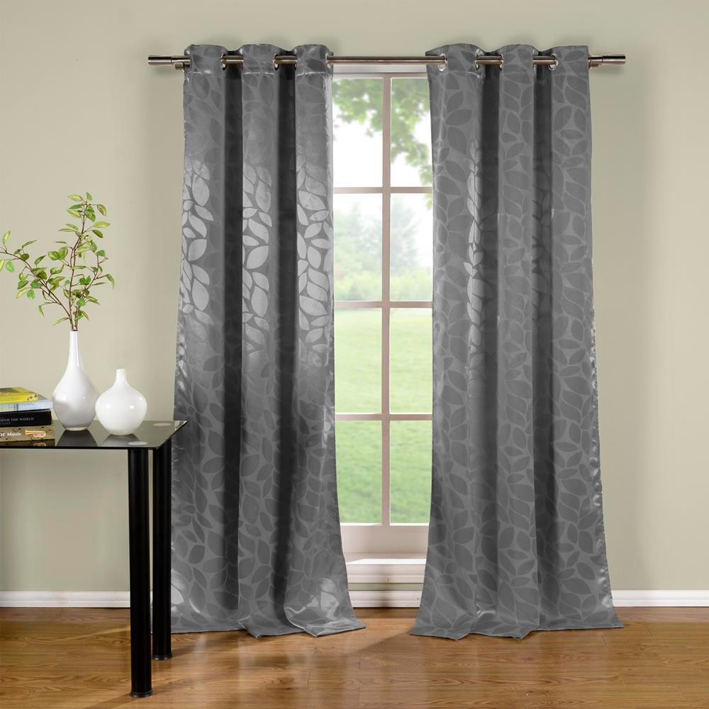 Duck River Zayden 38 in. x 96 in. L Polyester Blackout Curtain Panel in Grey (2-Pack)